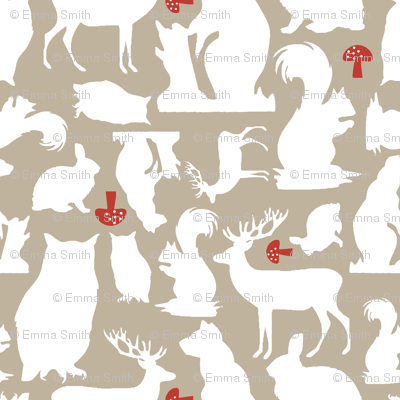 Woodland Animals Large Taupe