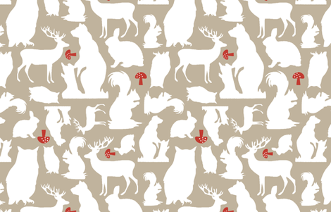 Woodland Animals Large Taupe fabric by emma_smith on Spoonflower - custom fabric