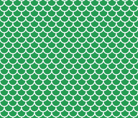 Feather Scales in Green and White fabric by little_fish on Spoonflower - custom fabric