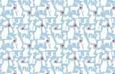 Woodland Animals Small Blue fabric by emma_smith on Spoonflower - custom fabric