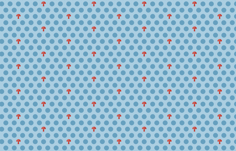Woodland Mushroom Dots Blue fabric by emma_smith on Spoonflower - custom fabric