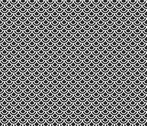 Double scales in black on white fabric by little_fish on Spoonflower - custom fabric