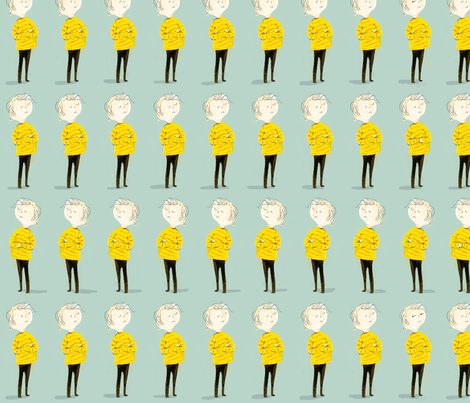 he did it! (follow the finger) fabric by mummysam on Spoonflower - custom fabric