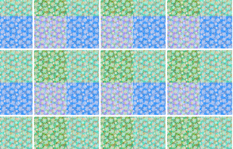 Verbena Quilter's Sample in Blue and Green