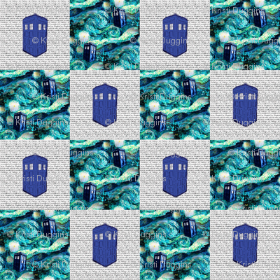 Starry Night + Old Fashioned Police Box Patchwork Quilt Blocks
