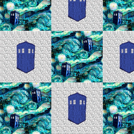 Starry Night + Old Fashioned Police Box Patchwork Quilt Blocks fabric by bohobear on Spoonflower - custom fabric