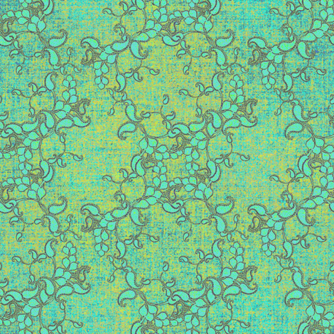 Paisley Texture antique aqua fabric by joanmclemore on Spoonflower - custom fabric