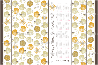Always Time for Apple Pie - 2014 Calendar Tea Towel - Natural