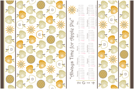 Always Time for Apple Pie - 2014 Calendar Tea Towel - Natural fabric by inscribed_here on Spoonflower - custom fabric