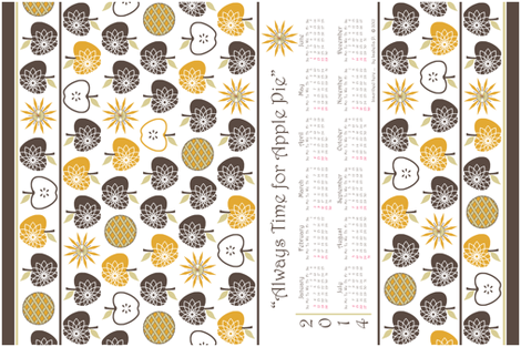 Always Time for Apple Pie - 2014 Calendar Tea Towel - Brown