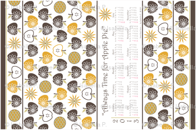 Always Time for Apple Pie - 2013 Calendar Tea Towel - Brown