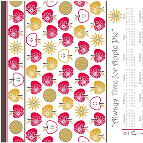 Always Time for Apple Pie - 2014 Calendar Tea Towel - Retro Red