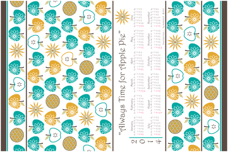 Always Time for Apple Pie - 2014 Calendar Tea Towel - Retro Jade fabric by inscribed_here on Spoonflower - custom fabric