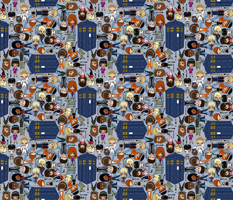 Blue Box friends - Blue/SMALL fabric by thirdhalfstudios on Spoonflower - custom fabric