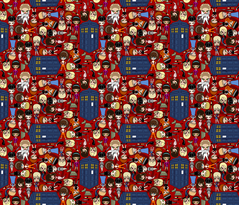 All the Companions down in Whoville - Red/SMALL fabric by thirdhalfstudios on Spoonflower - custom fabric