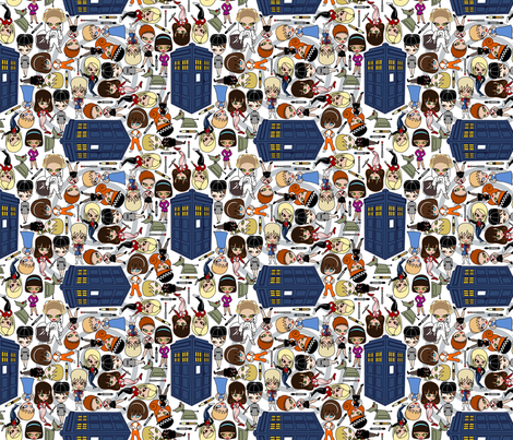 All the Companions down in Whoville - SMALL/White fabric by thirdhalfstudios on Spoonflower - custom fabric