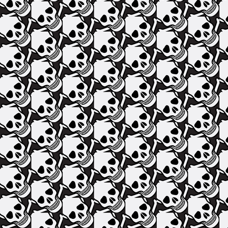 skulls on black-ed fabric by fabricfaeries on Spoonflower - custom fabric