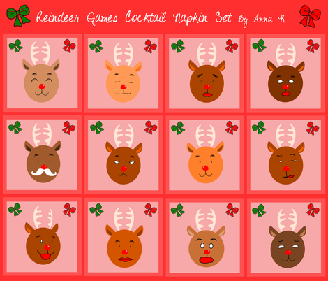 Reindeer_Games_Cocktail_Napkins fabric by annakim1996 on Spoonflower - custom fabric