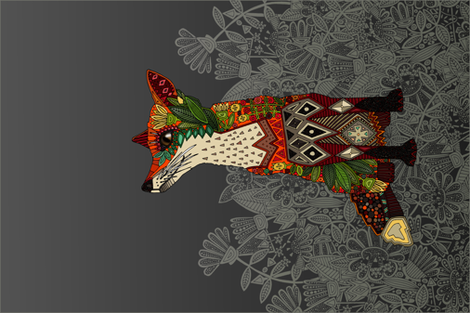 dark floral fox tea towel fabric by scrummy on Spoonflower - custom fabric