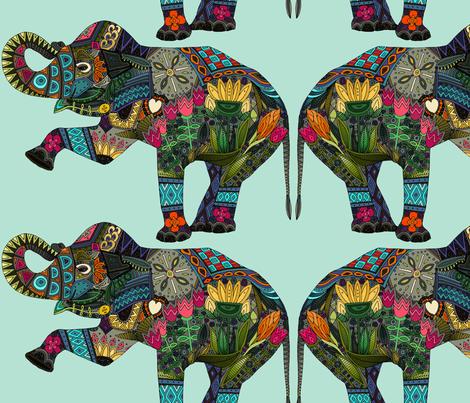 asian elephant aqua II fabric by scrummy on Spoonflower - custom fabric