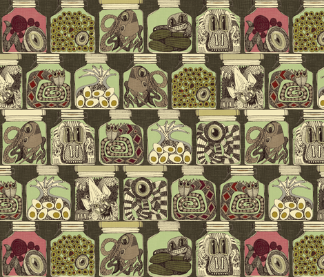 weird pickles vintage fabric by scrummy on Spoonflower - custom fabric