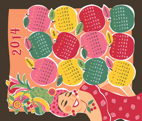 carmen tea towel calendar 2014  fabric by gracedesign on Spoonflower - custom fabric
