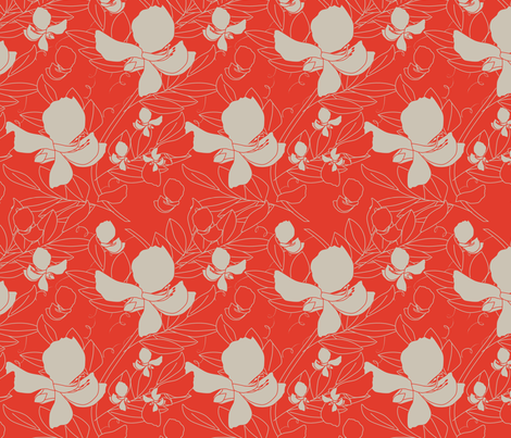 Broadbean Vine Tangerine fabric by leeandallandesign on Spoonflower - custom fabric