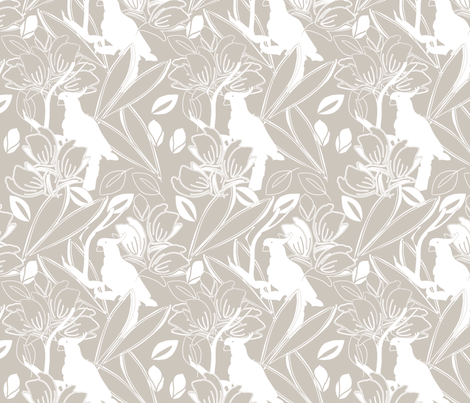 Cockatoo Natural fabric by leeandallandesign on Spoonflower - custom fabric