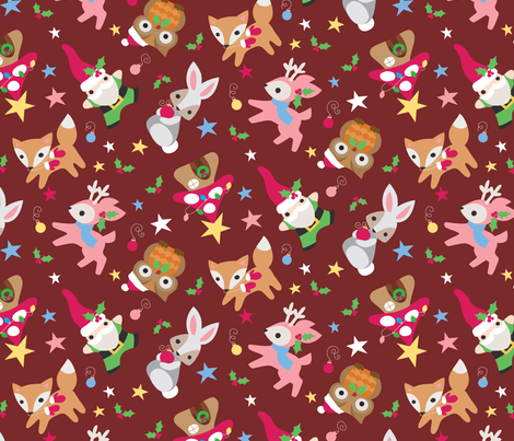 Woodland Wonderland Red Velvet fabric by urban_threads on Spoonflower - custom fabric
