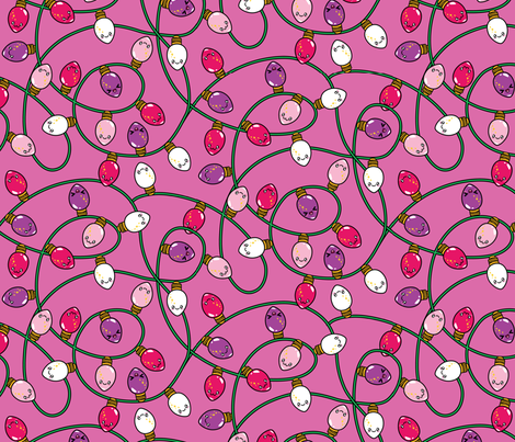 Kawaii Christmas Lights - Bubble Gum fabric by urban_threads on Spoonflower - custom fabric