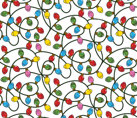Kawaii Christmas Lights - Snow fabric by urban_threads on Spoonflower - custom fabric