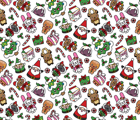 Kawaii Christmas Party -Snow fabric by urban_threads on Spoonflower - custom fabric