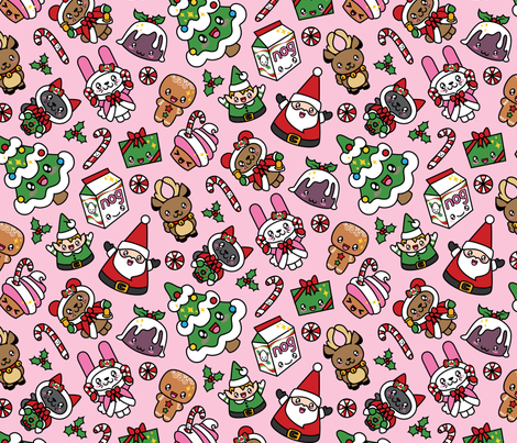Kawaii Christmas Party -Bubble Gum fabric by urban_threads on Spoonflower - custom fabric