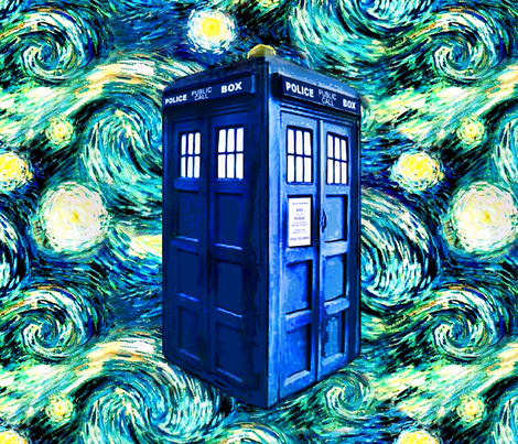 Starry Night Doctor Who Inspired TARDIS (for cotton fat quarters)