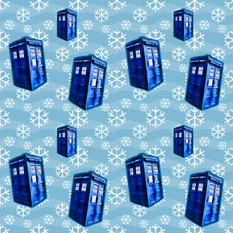 Doctor Who Inspired TARDIS Blue Snowflakes  fabric by bohobear on Spoonflower - custom fabric