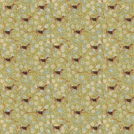 Morris' Hound on floral fabric by ragan on Spoonflower - custom fabric