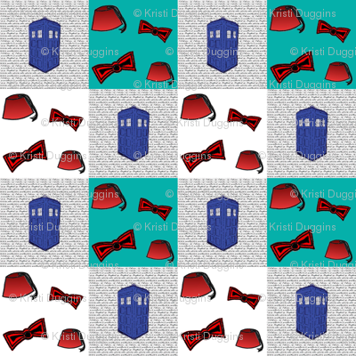 Doctor Who Inspired Patchwork Quilt Fabric