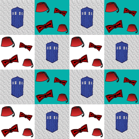 Doctor Who Inspired Patchwork Quilt Fabric fabric by bohobear on Spoonflower - custom fabric