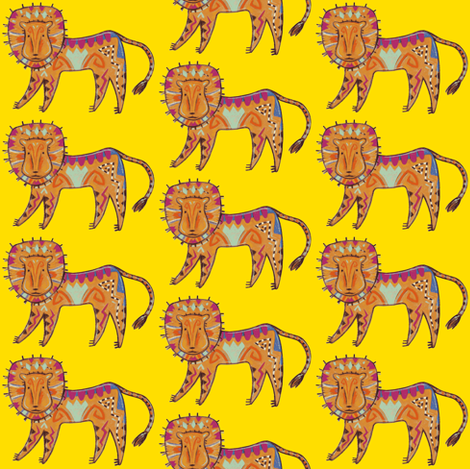 Curious Lion fabric by katy_bratun on Spoonflower - custom fabric