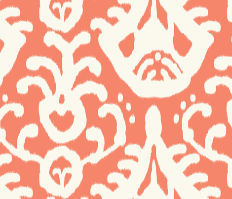 Coral Ikat (original colorway) fabric by domesticate on Spoonflower - custom fabric