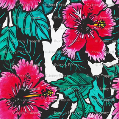 Hibiscus Print for Scarf(c)indigodaze2012