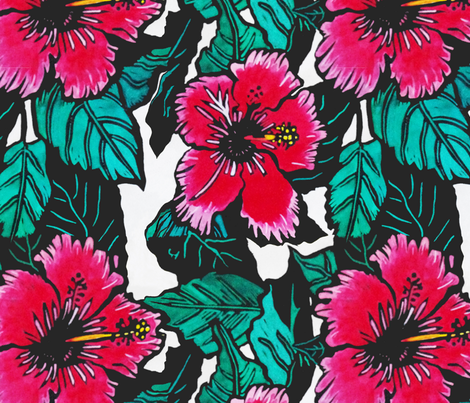 Hibiscus Print for Scarf(c)indigodaze2012 fabric by indigodaze on Spoonflower - custom fabric