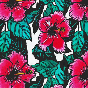 Hibiscus Print for Scarf, copyright 2012 seasparkles