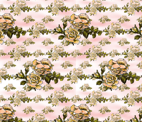 winter_rose_peach_faded_aged fabric by vinkeli on Spoonflower - custom fabric