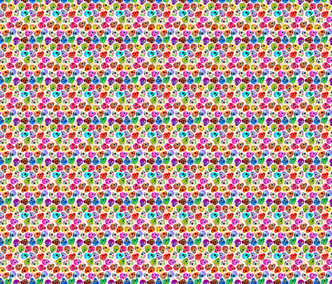 DITSY SIZE DOTD SKULLS WHITE fabric by thirdhalfstudios on Spoonflower - custom fabric