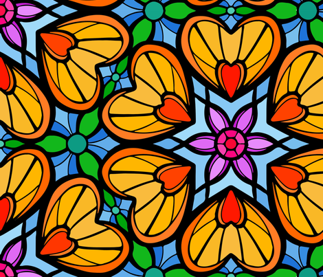 Colourfull Design Flowers and Hearts,