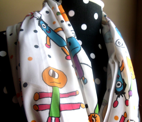 Cute Monsters Polkadots Fabric