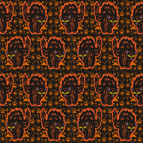 The Colorful Ms Tibbe a Black Cat in Pumpking Orange fabric by 3catsgraphics on Spoonflower - custom fabric