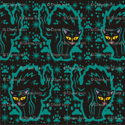 The Colorful Ms. Tibbe a Black Cat in Teal