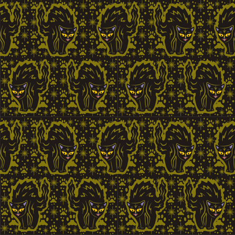 The Colorful Ms. Tibbe a Black Cat in Olive Green fabric by 3catsgraphics on Spoonflower - custom fabric